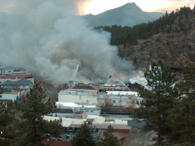Firefighters controlling the fire