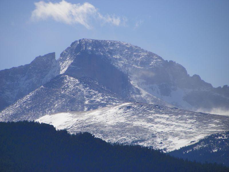 Snow getting closer to Estes Park Colorado - Long's Peak