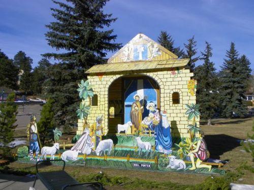Daytime manger scene.