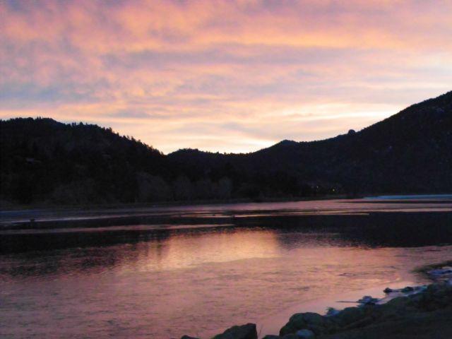 Sunrise over Lake Estes in Estes Park Colorado