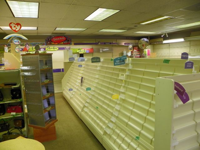 Nothing on the shelves at Hallmark in Estes Park