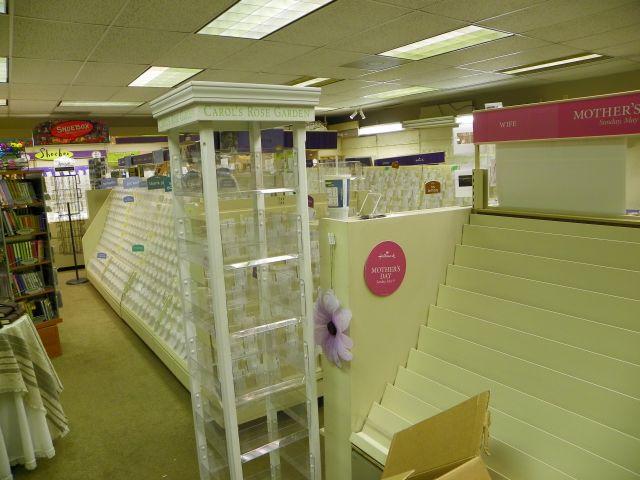 More empty shelves at Peaks Hallmark in Estes Park, Coloraod