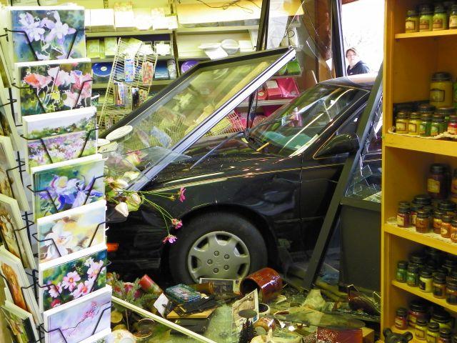 Car crashes through the front of the Hallmark Store, Estes Park, Colorado