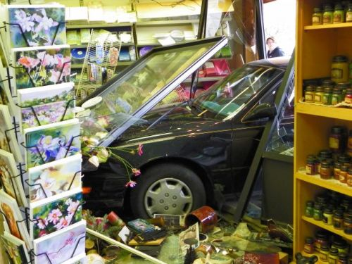 Car crashes through the front of the Hallmark Store, Estes Park, Colorado