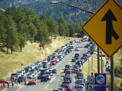 Traffic on East Highway 34 in Estes Park